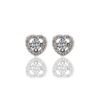 "NANA Sterling Silver & CZ Heart shaped ""Dancing Diamond"" Earrings"