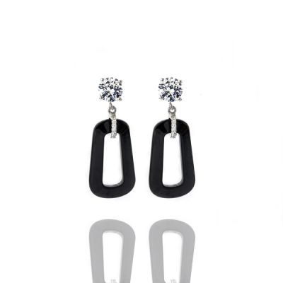 NANA Sterling Silver, CZ & Black Onyx Dangle Earrings