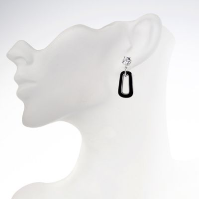 NANA Jewels Sterling Silver, CZ & Black Onyx Dangle Earrings
