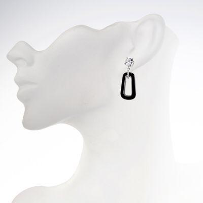 NANA Sterling Silver, CZ & Black Onyx Dangle Earrings