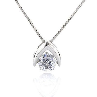 "NANA Sterling Silver & CZ Omega Dancing Diamond Pendant with a 0.80mm 22"" Adjustable Box Chain"