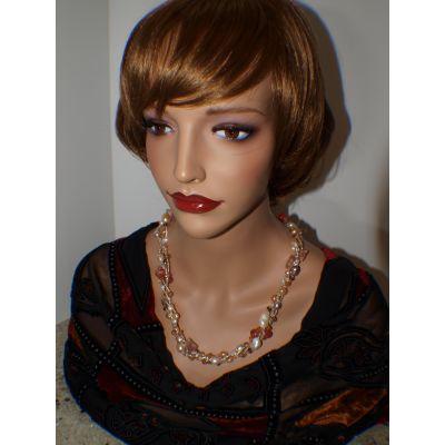 Orange/Brown Genuine Fresh Water pearls & Crystals Necklace