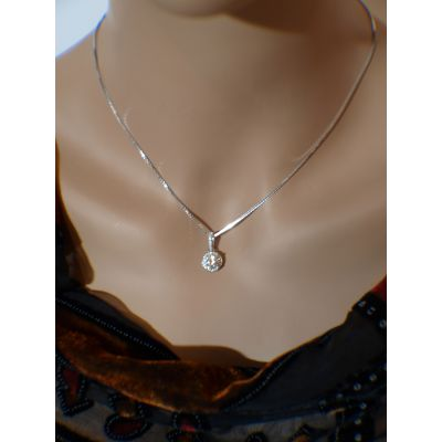"NANA Sterling Silver Round Solitaire Halo Style Pendant with a 22"" Adjustable Box Chain"