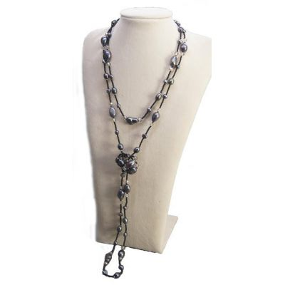 NANA Jewels Genuine Black Tahitian Fresh Water pearls Necklace