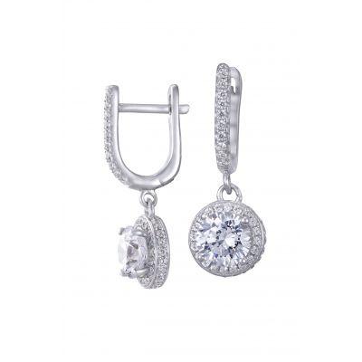 NANA Sterling Silver &  CZ Dangle Halo Earrings