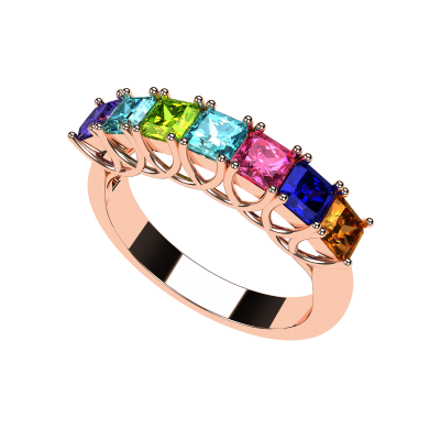 NANA Asscher Cut Lucita Style 1 to 7 Birthstones - Mother's Birthstone Ring in Sterling Silver, 10k or 14k Gold