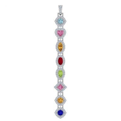 "MAMA Sterling Silver Add-a-link Mix & Match Birthstone Pendant with a 1mm 22"" Adjustable Box Chain"