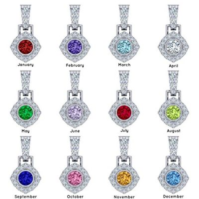 NANA Sterling Silver Round CZ Halo Earrings with a center 6.5mm Birthstone and a solid 14k gold post