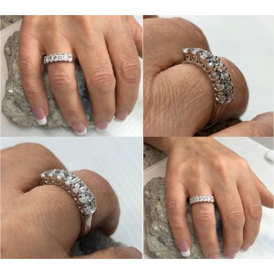 NANA Oval Cut Lucita Style 1 to 7 Birthstones - Mother's Birthstone Ring in Sterling Silver, Solid 10k or 14k Gold