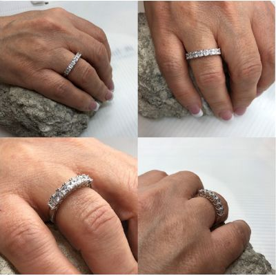 NANA Princess Cut Lucita Style 1 to 7 Birthstones - Mother's Birthstone Ring in Sterling Silver, Solid 10k or 14k Gold