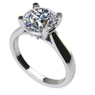 NANA Sterling Silver Round Brilliant Cut Lucita Solitaire Ring Made with Pure Brilliance Swarovski Zirconia