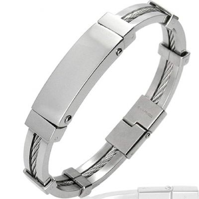 Central Diamond Center Mens Stainless ID Bangle Gentlemans Modern Metal Jewelry