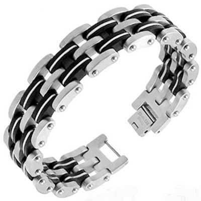 Central Diamond Center Mens Stainless Steel & Rubber Bracelet Gentlemans Modern Metal Jewelry New