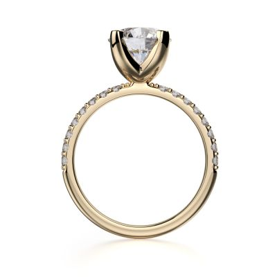 NANA Round Brilliant Cut 6.5mm Center Solitaire Engagement Ring Made with Pure Brilliance Swarovski Zirconia