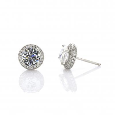 NANA Sterling Silver & CZ Birthstones Halo Pendant & Earrings Set