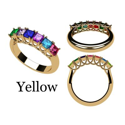 NANA Jewels Asscher Cut Lucita Style 1 to 7 Birthstones - Mother's Birthstone Ring in Sterling Silver, 10k or 14k Gold