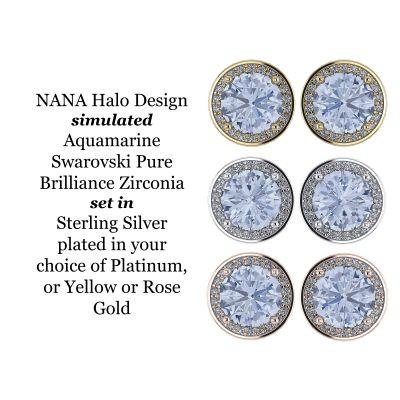 NANA Jewels Simulated Aquamarine Swarovski Zirconia Round Halo Earrings Sterling Silver with 14k posts