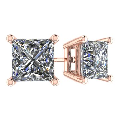 NANA Jewels Sterling Silver Princess Cut Swarovski Zirconia Stud Earrings with a Surgical Stainless Steel Post (1.50cttw-4.0cttw)
