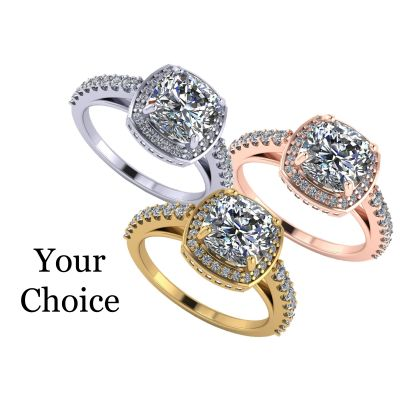 NANA Jewels Cushion Cut Halo Style Engagement Ring made with 7mm Pure Brilliance Swarovski Zirconia Center