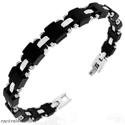 Central Diamond Center Mens Stainless Steel & Rubber Bracelet Gentlemans Modern Metal Jewelry **New**