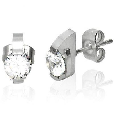 Central Diamond Center Stainless Steel & CZ Cubic Zirconia Post Earrings Modern Metal Jewelry