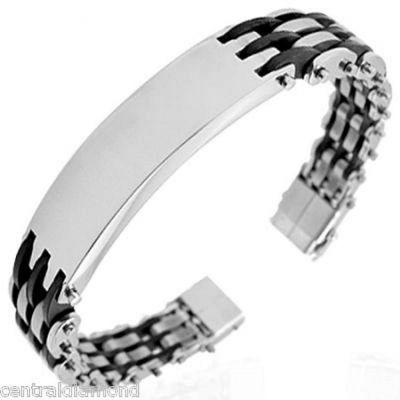 Central Diamond Center Mens Stainless Steel Bracelet Gentlemans Modern Metal Jewelry