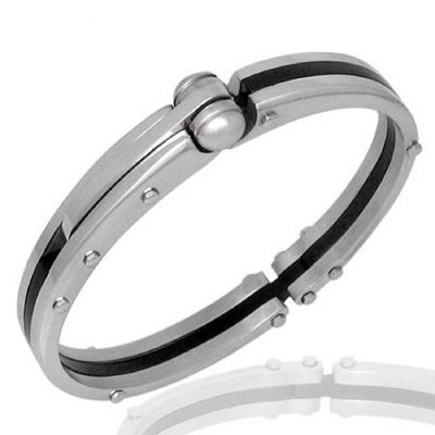 Central Diamond Center Mens Stainless Steel & Rubber Bangle Bracelet Gentlemans Modern Metal Jewelry