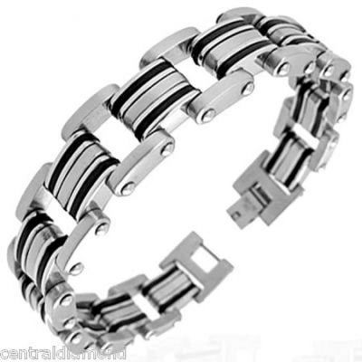 Central Diamond Center Mens Stainless Steel & Rubber Bracelet Gentlemans Modern Metal Jewelry