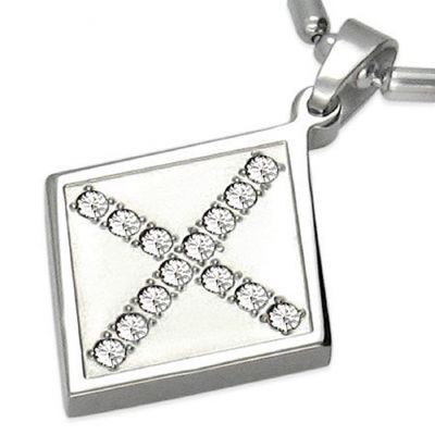 Central Diamond Center Stainless Steel & CZ Cubic Zirconia Cross Pendant w/ Chain Necklace Unisex