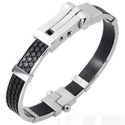 Central Diamond Center Mens Stainless Steel & Rubber Bangle Bracelet Gentlemans Modern Metal Jewelry