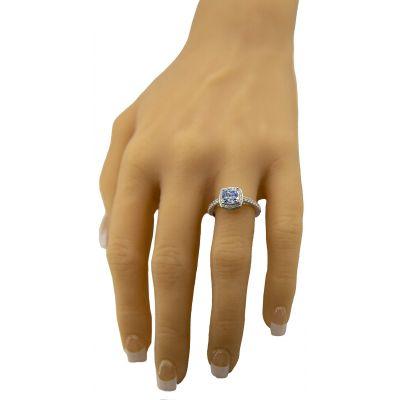 NANA Jewels 2ct Cushion Cut Simulated Aquamarine Halo Engagement Ring Swarovski Zirconia Sterling Silver