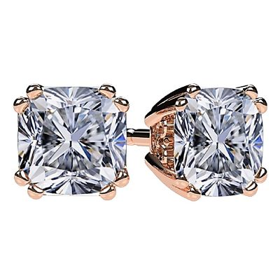 NANA Jewels Sterling Silver Cushion Cut Swarovski Zirconia Stud Earrings with a solid 14k gold post (0.50cttw-2.50cttw)