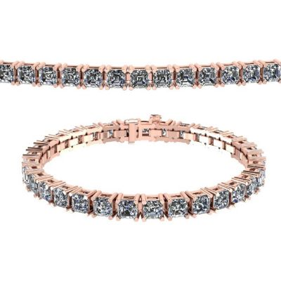 "NANA Jewels 7"" or 8"" Sterling Silver & Asscher Cut Swarovski CZs Tennis Bracelet in Platinum, Yellow or Rose Gold Plated"