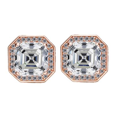 NANA Jewels Sterling Silver Asscher Cut Swarovski Zirconia Halo Earrings with a solid 14k Gold Post