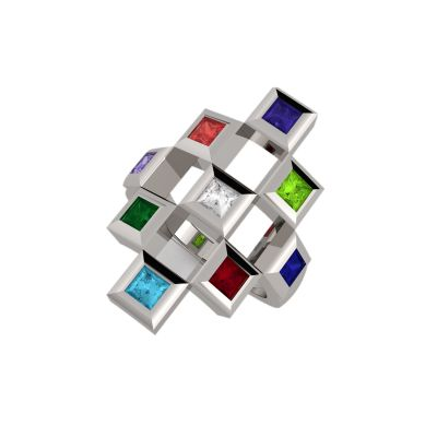 NANA Jewels Sterling Silver Tic-Tac-Toe Mother's Ring 1-9 stones