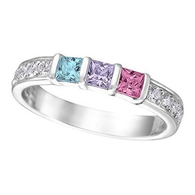 NANA Jewels Princess with side CZs Mother's Ring with 1 to 6 Birthstones in Sterling Silver, 10k or 14k White, Yellow or Rose Gold