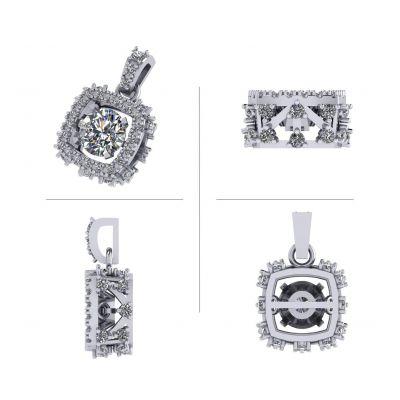 Rhombus Dancing Stone Necklace w/Swarovski Zirconia in Sterling Silver