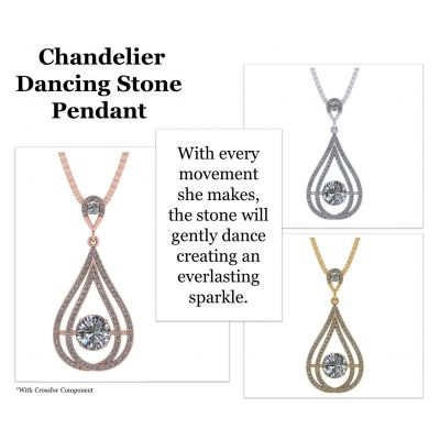 Chandelier Dancing Stone Necklace made w/Swarovski Zirconia in Sterling Silver