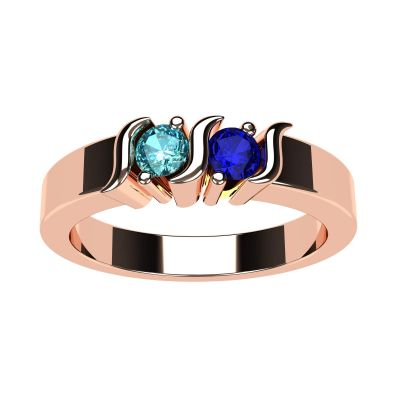 S-Bar Couples 2 Stone Ring w/ Simulated Birthstones, Sterling Silver, 10K, or 14K Gold
