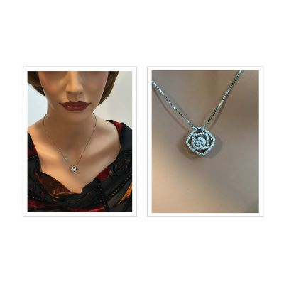 Double Square Dancing Stone Necklace Pendant in Sterling Silver made with Swarovski Zirconia