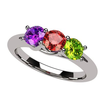 NANA Jewels Lucita Mother's Ring with 1 to 6 Birthstones in Sterling Silver, 10k or 14k white, Yellow or Rose Gold