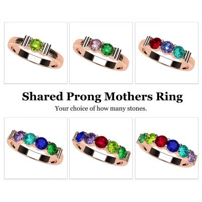 NANA Jewels Share Prong Mother's Ring with 1 to 6 Birthstones in Sterling Silver, 10k or 14k White, Yellow or Rose Gold