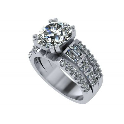 Sterling Silver Round & Baguette Engagement wedding set ring with a 9.00mm-2.50ct Round Center Stone