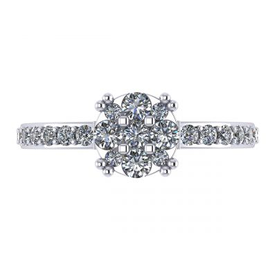 NANA Jewels Lab Created CVD Diamond Cluster Engagement Ring 10kt Gold