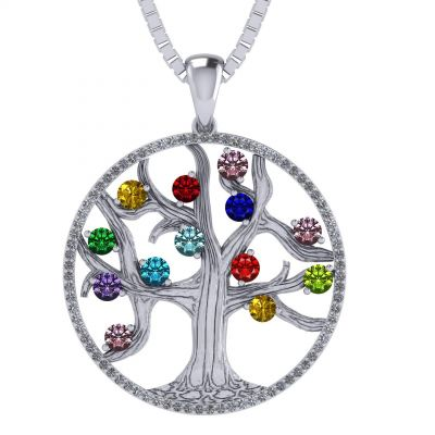 "NANA Jewels Tree of Life Mother's Pendant with a CZ Bezel 1-13 Stones w/1mm 22"" Adj. Box Chain, in Sterling Silver, Solid 10K or 14K Gold"