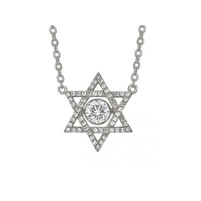 Star of David Dancing Stone Necklace Pendant in Sterling Silver made w/Swarovski Zirconia, Chain Attached