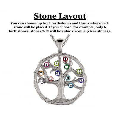 """NANA Jewels Tree of Life Mother's Pendant 1-12 Stones with a 1mm 22"""" Adj. Box Chain, in Sterling Silver, Solid 10K or 14K Gold"""