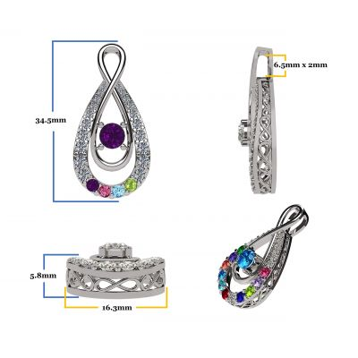 """NANA Jewels """"Yours Infinity"""" Mother & Child Pendant-Necklace,1 to12 Birthstones, in Sterling Silver, 10K or 14K Gold, with a 1mm 22"""" Adjustable Box Chain"""
