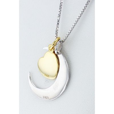 NANA Jewels Mom, I Love You to The Moon and Back Charm Necklace Sterling Silver Gold Flashed