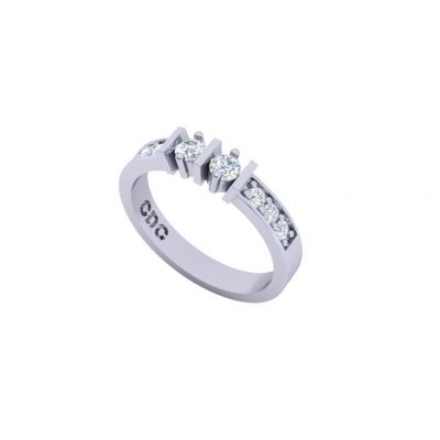 Straight Bar w/Sides Couples 2 Stone Ring w/Simulated Birthstones Silver, 10K or 14K Gold